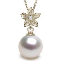 Pendente in argento, zircone e perla Akoya bianca AAA