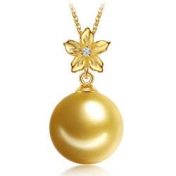 Pendente Oro 9 carati con Perla dorata delle Filippine AAA