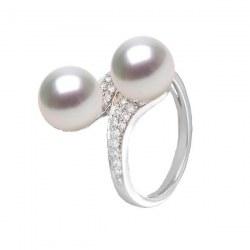 Anello You&Me, Oro 18k Diamanti due perle d'acqua dolce DOLCEHADAMA