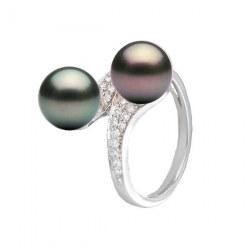 Anello You&Me, Oro 18k Diamanti perle nere di Tahiti