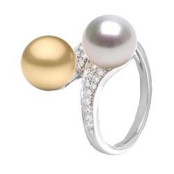 Anello You&Me, Oro 18k Diamanti perla dorata delle Filippine e bianca Australiana 9-10 mm AAA