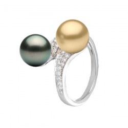Anello You&Me, Oro 18k Diamanti perla dorata delle Filippine e nera di Tahiti 9-10 mm AAA