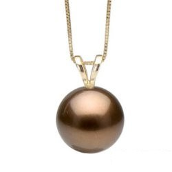 """Pendente """"V"""" con perla di Tahiti Cioccolato 10-11 mm qualità AAA"""