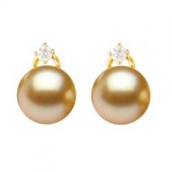 Orecchini Oro 18k Diamanti perle Filippine Dorate AAA