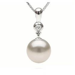 Pendente in oro 14k, diamante e perla Australiana Bianca AAA