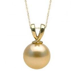 Catenina 45 cm e Pendente in oro giallo 18k perla delle Filippine dorata 9-10 mm AAA
