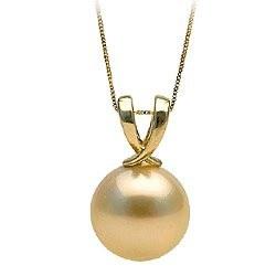 Pendente in oro 14k, perla coltivata australiana dorata