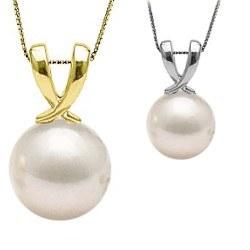 Pendente in oro 14k con perla di coltura Akoya bianca AAA