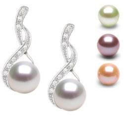 Orecchini in oro 18k con perle d'acqua dolce DOLCEHADAMA e diamanti