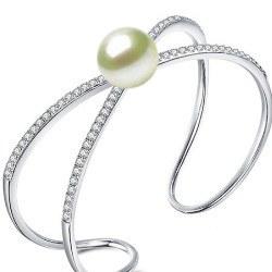 Bracciale in Argento 925 e perla Akoya 9-9,5 mm AAA