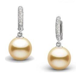Orecchini in argento 925 con diamanti e perle dorate delle Filippine 9-10 mm AAA