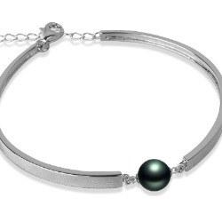 Bracciale in argento 925 con perla di coltura di Tahiti AAA