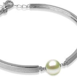 Braccialetto in Argento 925 e perla Akoya bianca AAA