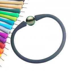 Braccialetto in Silicone colore a scelta, Perla nera di Tahiti