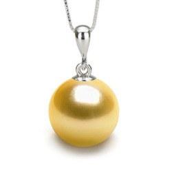 Pendente in Argento 925 perla coltivata delle Filippine dorata AAA