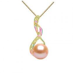 Pendente in Oro 14k Diamanti con Perla Acqua Dolce 8-9 mm AAA rosa pesca e catenina 18k 45 cm