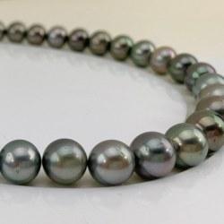 Collana 44 cm Perle nere di Tahiti da 10 a 12 mm qualità AA multicolori