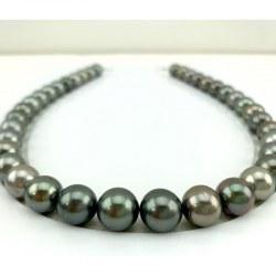 Collana 44 cm di perle nere di Tahiti da 10 a 12 mm qualità AA