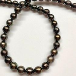 Collana 44 cm di perle nere di Tahiti da 8 a 10 mm qualità AA