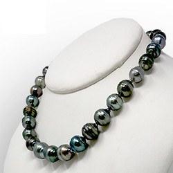 Collana di splendide perle di Tahiti barocche cerchiate 10-12 mm, 43/44 cm