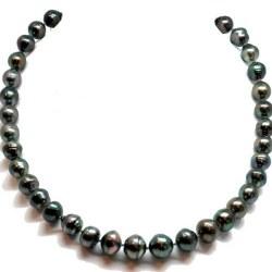 Collana 43 cm perle barocche di Tahiti, da 8-11 mm a 9-12 mm cerchiate