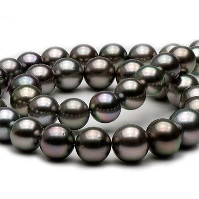 Collana 43/44 cm di perle di Tahiti rotonde da 10,3 a 11,7 mm Qualità: AA/AA+