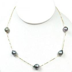 Collana 5 Perle di Tahiti Barocche a goccia 9-10 mm catenina corda oro 14k