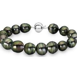 Braccialetto 18 cm perle barocche di Tahiti 8-9,5 mm Argento 925