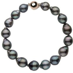 Braccialetto 18 cm di perle barocche di Tahiti da 8,5 a 9 mm Oro 14k