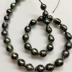 Collana 44 cm Perle di Tahiti Barocche cerchiate 8-10 mm molto luminose