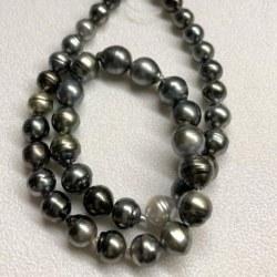 Collana 43/44 cm Perle di Tahiti cerchiate Barocche da 8-11 mm multicolori