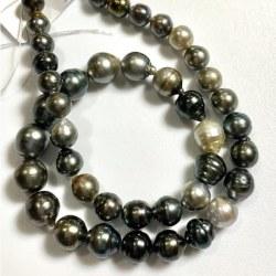 Collana 44 cm Perle di Tahiti Barocche cerchiate 8-11 mm molto luminose