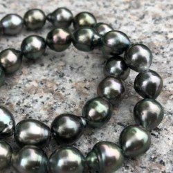 Collana 43 cm Perle barocche di Tahiti a goccia 8-11 mm bel lustro