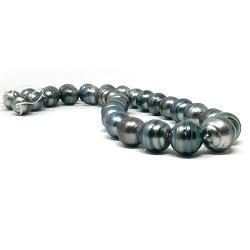 Collana 43/44 cm Perle barocche di Tahiti cerchiate grandi perle da 11 a 15 mm