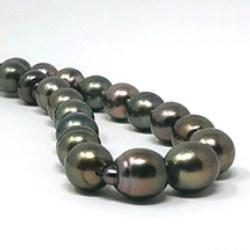 Collana 43/44 cm Perle di Tahiti barocche 9-11 mm tinte scure