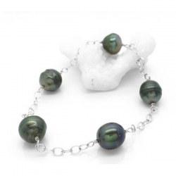 Braccialetto 5 perle di Tahiti barocche 8-9 mm su Oro bianco 14k