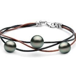 Braccialetto perle Tahiti 2x8-9 mm 1x10-11 mm AAAsu lacci intrecciati di cuoio