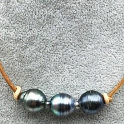 Collana o Braccialetto in cuoio con 3+1 perle Tahiti Barocche 11-12 mm