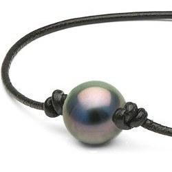 Braccialetto o Collana su cuoio, perla di Tahiti tra 2 nodi e nodi scorrevoli