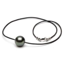 Laccio di cuoio con fermaglio, perla nera di Tahiti AA+ o AAA