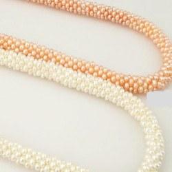 Collana 45 cm di perle di coltura d'acqua dolce da 2 mm intrecciate