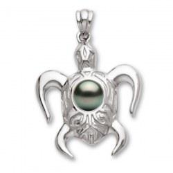 Pendente a forma di tartaruga in Argento 925 con perla di Tahiti di qualità AAA