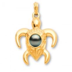 Pendente a forma di tartaruga in oro 18k con perla di Tahiti AA+ o AAA