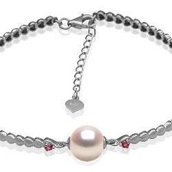 Bracciale in Argento tormaline rosse perla Akoya 8,5-9 mm AA + o AAA