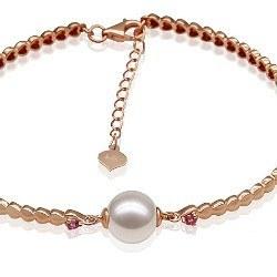Bracciale in oro giallo 18k tormaline rosse perla Akoya 8,5-9 mm AA + o AAA