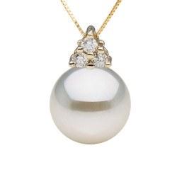 Pendente in oro 14k e diamanti con perla Akoya AAA