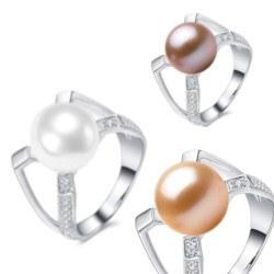 Anello in argento 925 e zirconi con perla d'acqua dolce AAA