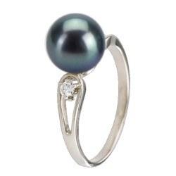 Anello in argento 925 e diamanti con perla d'acqua dolce nera AAA
