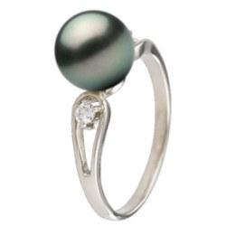Anello Argento 925 e diamanti con perla nera di Tahiti qualità AAA