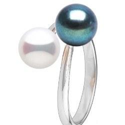 Anello You&Me, argento 925 perle d'acqua dolce bianca e nera